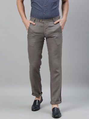 Men's Linen Grey Regular Fit Pants Cottonworld Men's Pants