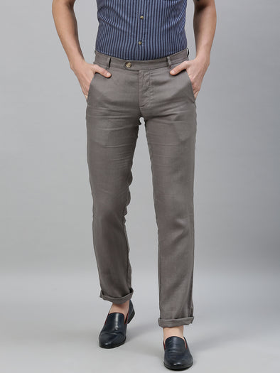 Men's Linen Grey Regular Fit Pants