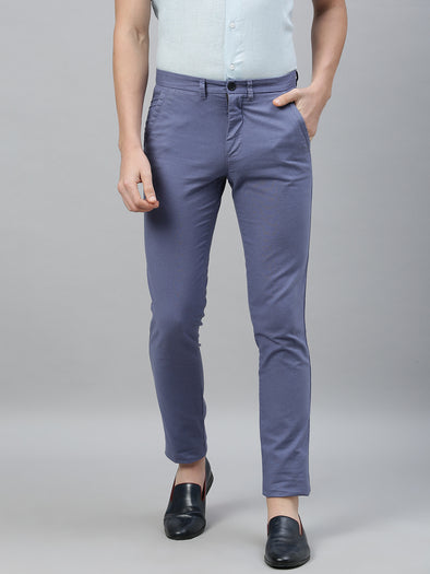 Men's Cotton Linen Blue Slim Fit Pants