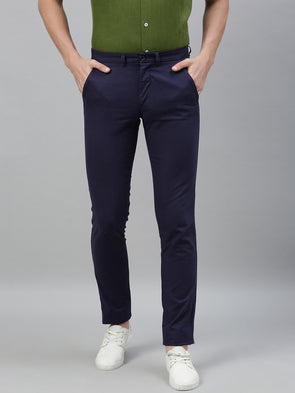 Men's Cotton Linen Navy Slim Fit Pants