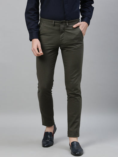 Men's Cotton Linen Olive Slim Fit Pants
