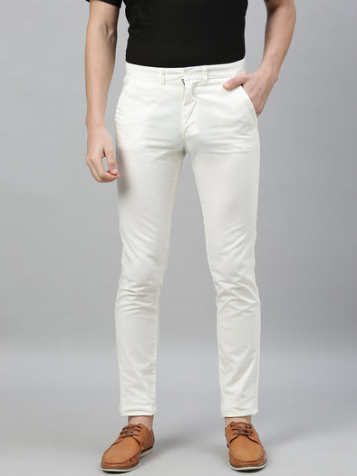 Men's Cotton Linen White Slim Fit Pants