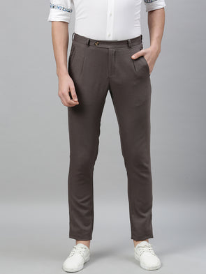 Men's Cotton Linen Dark Grey Slim Fit Pants