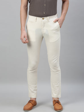 Men's Linen Cotton Natural Slim Fit Pants