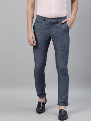 Men's Linen Cotton Navy Slim Fit Pants