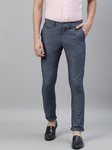 Men's Linen Cotton Navy Slim Fit Pants Cottonworld Men's Pants