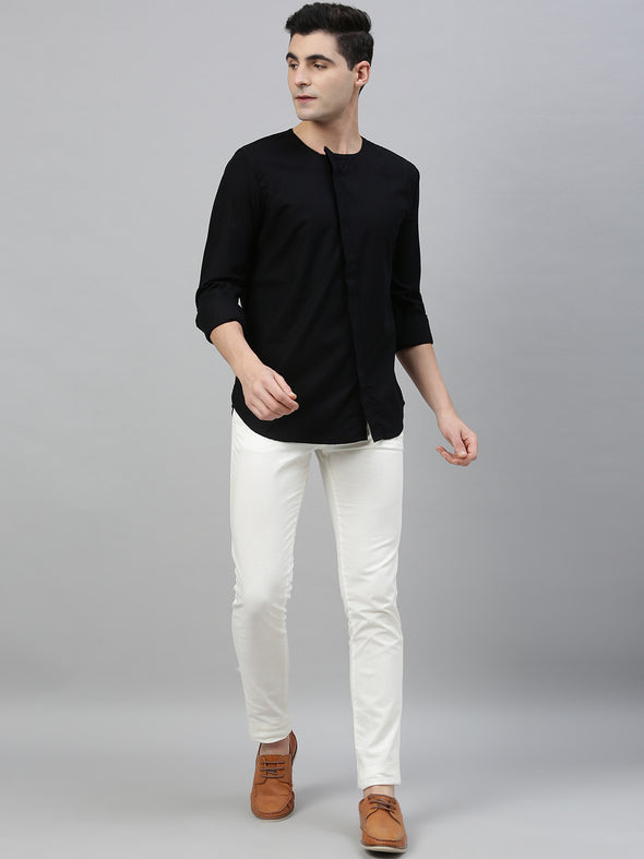 Men's  Black Kurta Shirt With Cross Concealed Placket Cottonworld Men's Shirts