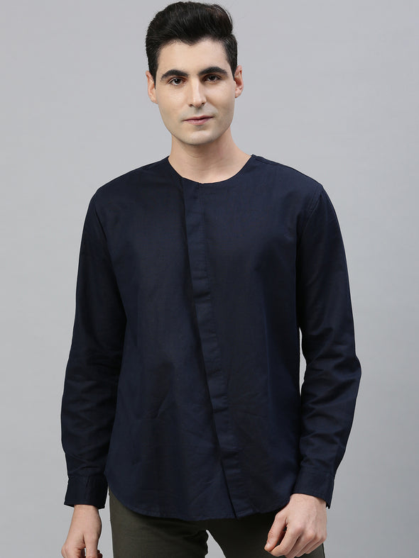 Men's Linen Cotton Regular Fit Kurta Shirt With Cross Concealed Placket Cottonworld Men's Shirts