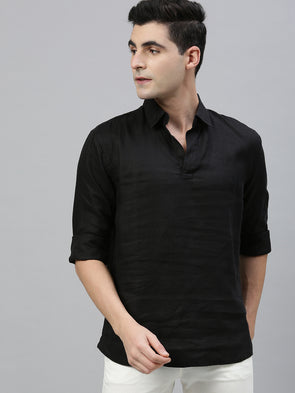 Men's Pure Linen Black Regular Fit Pull On Kurta Shirt Cottonworld Men's Shirts