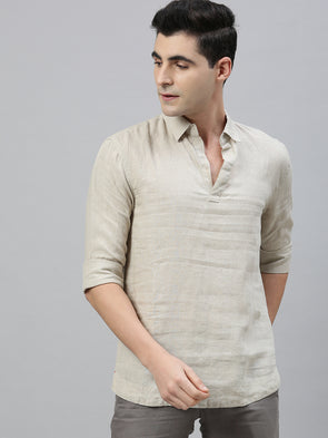 Men's Pure Linen Natural Regular Fit Pull On Kurta Shirt Cottonworld Men's Shirts