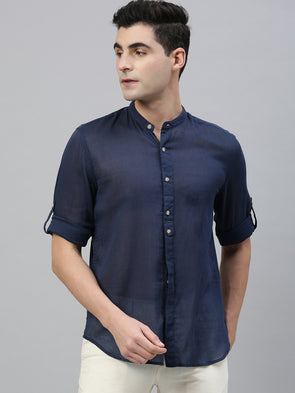 Men's Cotton Navy Roll Up Band Collar Regular Fit Shirt Cottonworld Men's Shirts