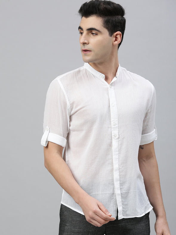 Men's Cotton White Roll Up Band Collar Regular Fit Shirt Cottonworld Men's Shirts