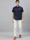 Men's Two Flap Pocket Linen Cotton Navy Regular Fit Shirt Cottonworld Men's Shirts