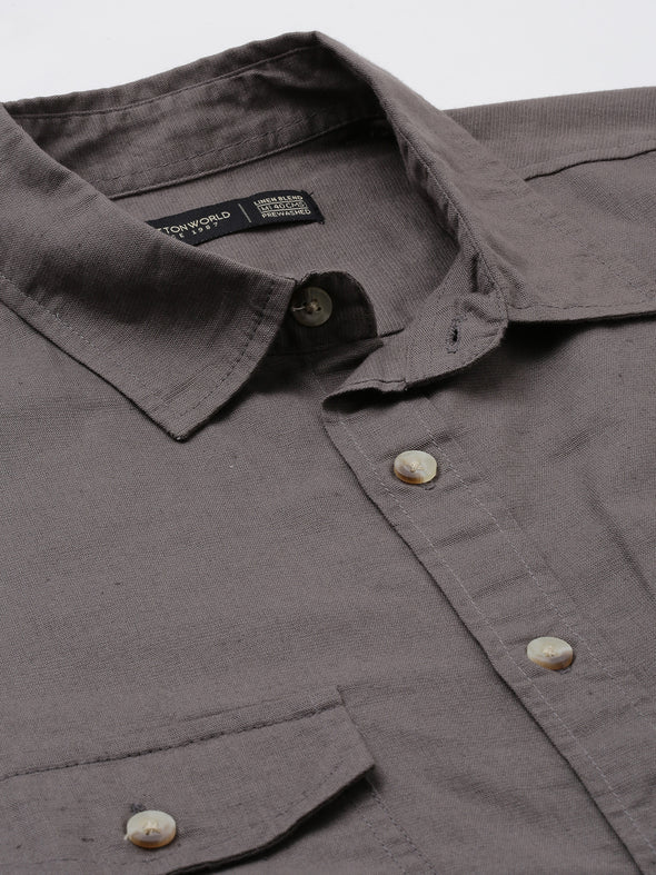 Men's Two Flap Pocket Linen Cotton Brown Regular Fit Shirt Cottonworld Men's Shirts