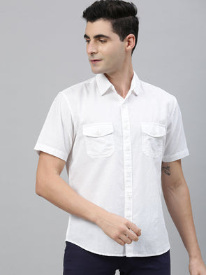 Men's Two Flap Pocket Linen Cotton White Regular Fit Shirt Cottonworld Men's Shirts