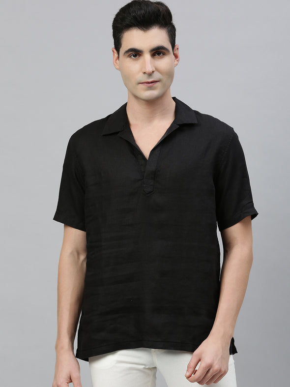 Men's Pure Linen Black Pull On Regular Fit Kurta Shirt Cottonworld Men's Shirts