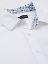 Men's Cotton White Dobby Slim Fit Shirt With Contrast fabric Cottonworld Men's Shirts