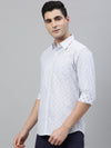 Men's Cotton Blue  Slim Fit Striped  Shirt With A Jacquard Cottonworld Men's Shirts