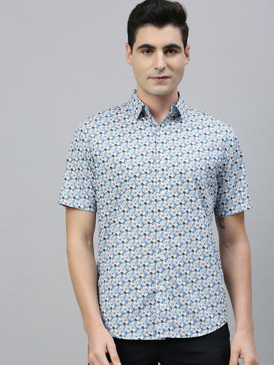 Men's Cotton Aqua Slim Fit Printed Shirt Cottonworld Men's Shirts