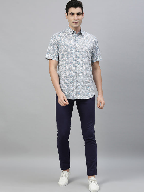 Men's Cotton Blue Slim Fit Shirts Cottonworld Men's Shirts