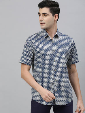 Men's Cotton Navy Slim Fit Shirts Cottonworld Men's Shirts