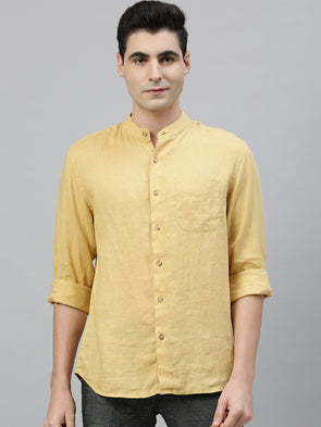 Men's Mustard Pure Linen Band Collar  Regular Fit Shirt Cottonworld Men's Shirts