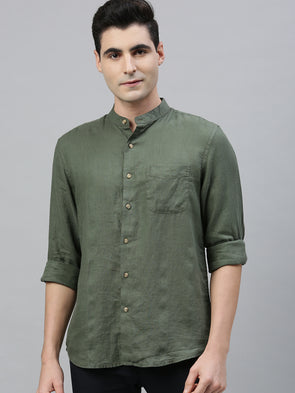 Men's Olive Pure Linen Band Collar Regular Fit Shirt Cottonworld Men's Shirts