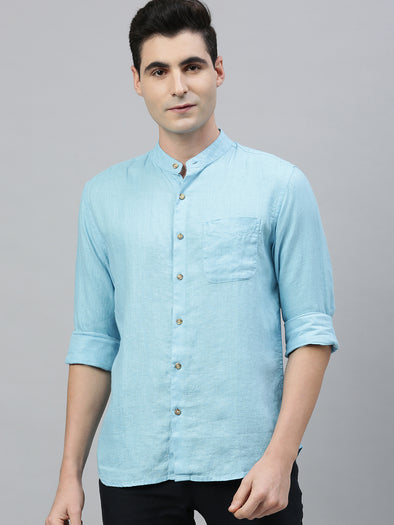 Men's Sky Blue Pure Linen Band Collar Regular Fit Shirt Cottonworld Men's Shirts