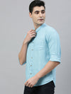 Men's Sky Blue Pure Linen Band Collar Regular Fit Shirt