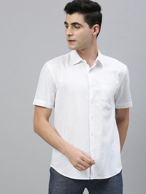 Men's White Linen Cotton  Regular Fit Shirt Cottonworld Men's Shirts