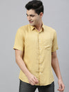 Men's Mustard Pure Linen Regular Fit Shirt Cottonworld Men's Shirts
