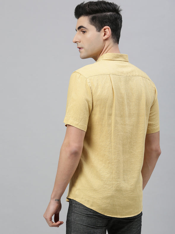 Men's Mustard Pure Linen Regular Fit Shirt