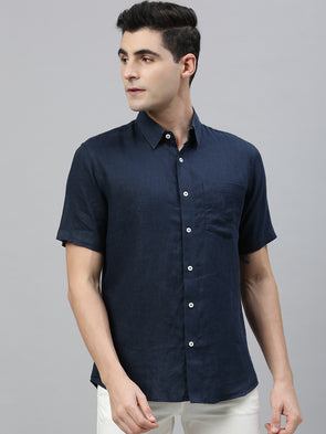 Men's Navy Pure Linen Regular Fit Shirt Cottonworld Men's Shirts