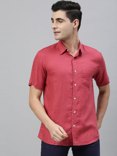 Men's Red Pure Linen Regular Fit Shirt Cottonworld Men's Shirts