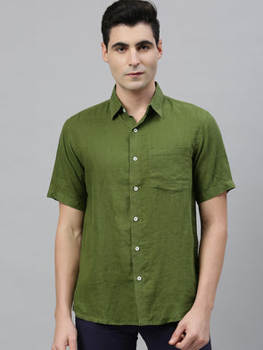 Men's Green Pure  Linen  Regular Fit Shirt