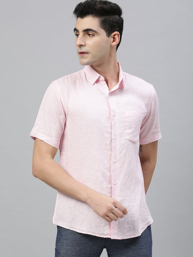 Men's Pink Pure Linen Regular Fit Shirt Cottonworld Men's Shirts