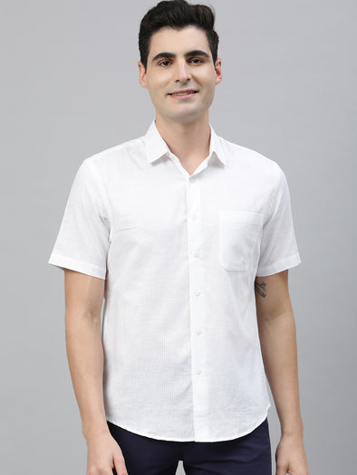 Men's Linen Cotton White Regular Fit Shirts Cottonworld Men's Shirts