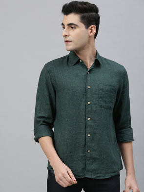 Men's Green Pure  Linen  Regular Fit Shirt Cottonworld Men's Shirts