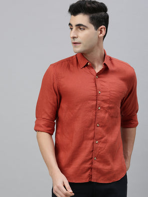 Men's Brick Pure Linen Regular Fit Shirt
