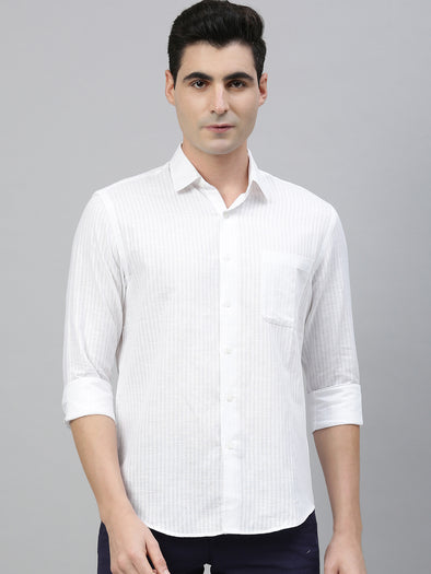 Men's White Linen Cotton Regular Fit Striped Shirt Cottonworld Men's Shirts