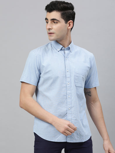 Men's Blue Regular Fit Oxford Shirt With Lycra Cottonworld Men's Shirts