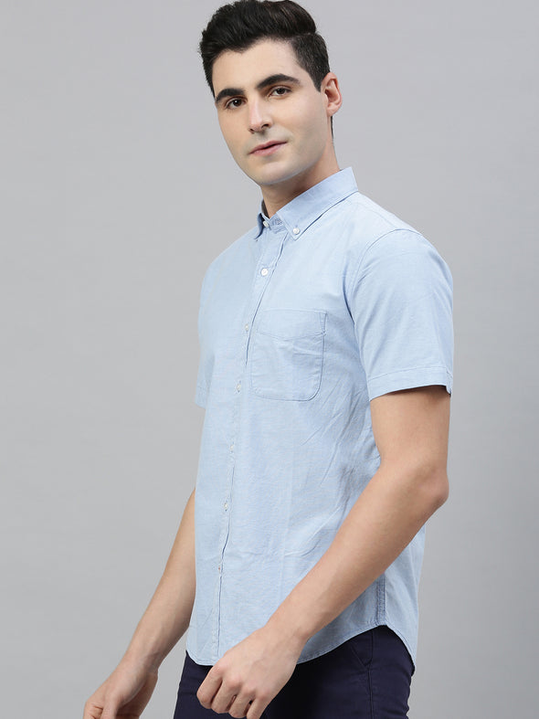 Men's Blue Regular Fit Oxford Shirt With Lycra