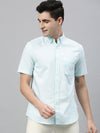 Men's Mint  Regular Fit Cotton Oxford Shirt Cottonworld Men's Shirts