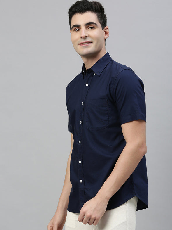 Men's Navy Regular Fit Cotton Oxford Shirt Cottonworld Men's Shirts