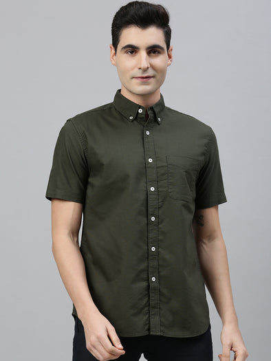 Men's Olive Regular Fit Cotton Oxford Shirt Cottonworld Men's Shirts