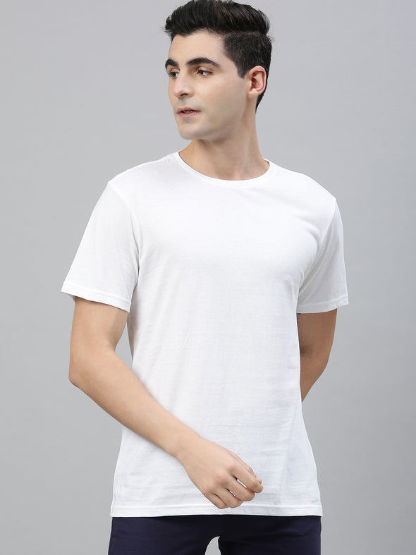 Men's Cotton White Regular Fit Tshirt Cottonworld Men's Tshirts