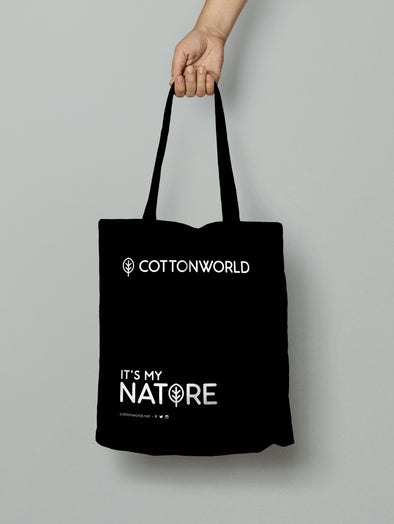 Recycled Printed Black Tote Bag - Free size Cottonworld Unisex Bag
