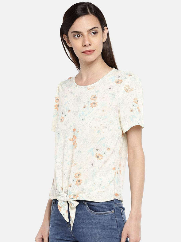 Cottonworld BLOUSE 77 CM-XSMALL / CREAM WOMEN'S 100% VISCOSE CREAM REGULAR FIT BLOUSE