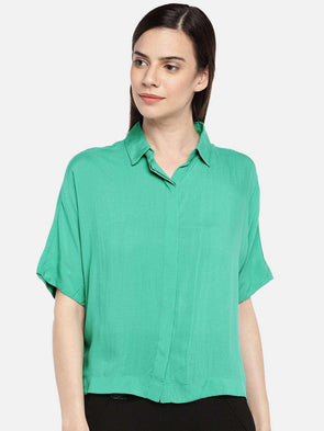 Cottonworld BLOUSE 77 CM-XSMALL / GREEN WOMEN'S 100% MODAL GREEN REGULAR FIT BLOUSE
