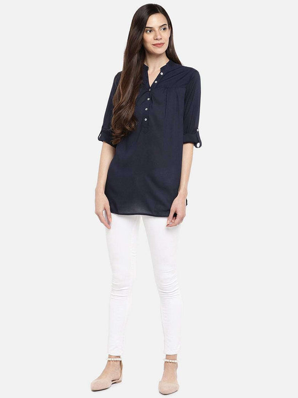 Women's Modal Navy Blouse Cottonworld Women's Tops